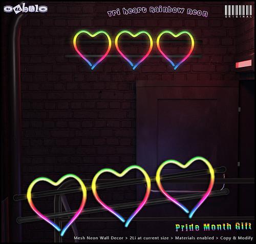 [ bubble ] Tri-Heart Rainbow Neon - Pride Month Gift