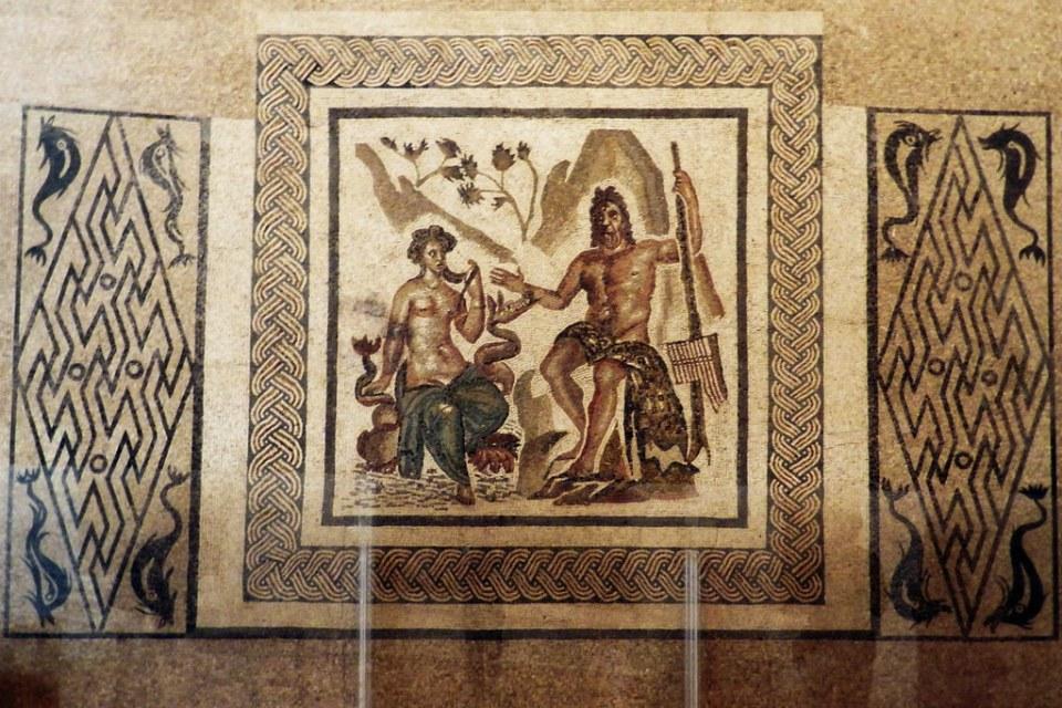 mosaico romano de Polifemo y Galatea museo Alcázar de los Reyes Cristianos Cordoba