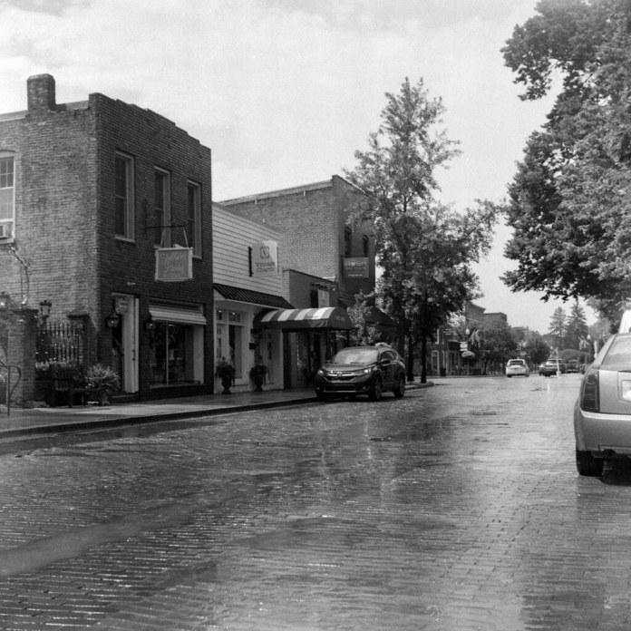 Wet brick street
