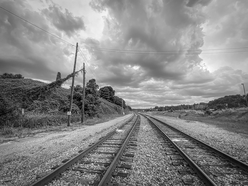 railroad tracks, turbulent sky, early evening, Norfolk and Southern Railway, Asheville, North Carolina, iPhone 11, 7.12.20