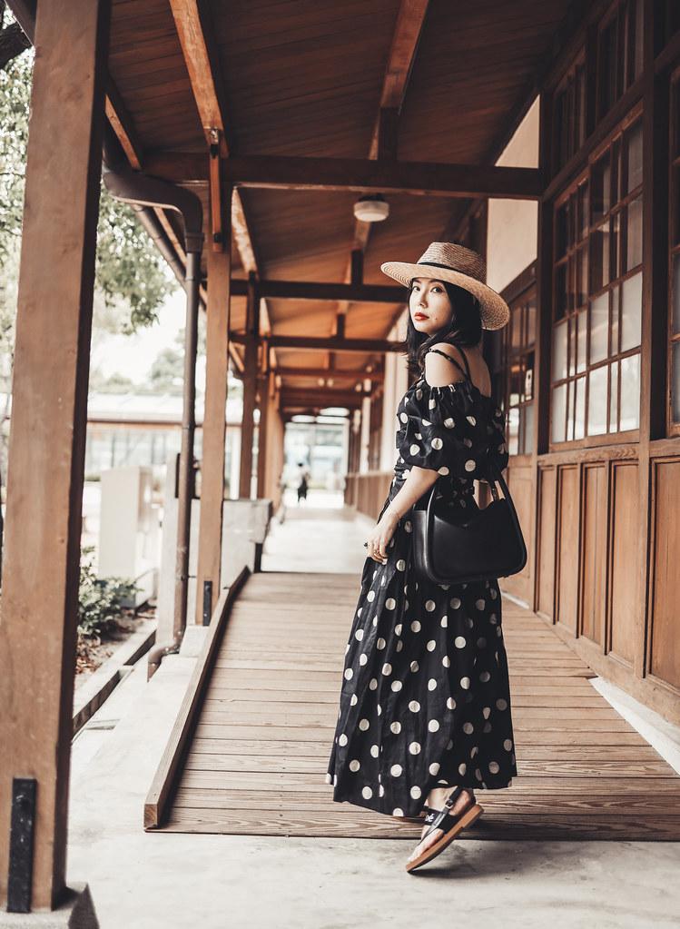 來去鐵道博物館:Bec & Bridge圓點洋裝、Chloe夾腳涼鞋、Boyy Wonton 25