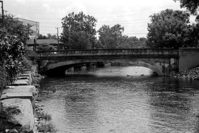 Rainbow bridge in black and white