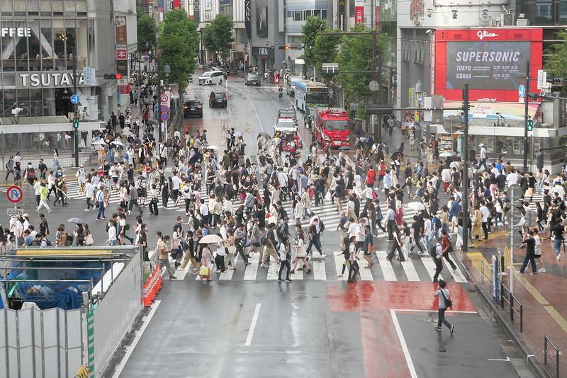 Shibuya Crossing on a rainy day