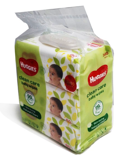Huggies Clean Care Baby Wipes 80 sheets x 3 packs 240pcs