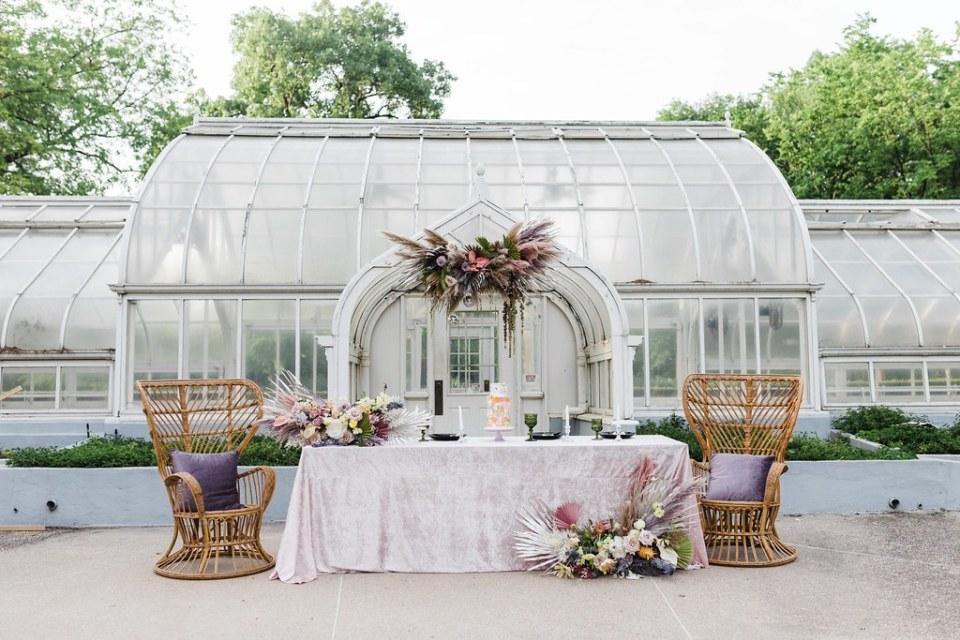 a wedding setup at Texas Woman's University greenhouse in Denton, Texas