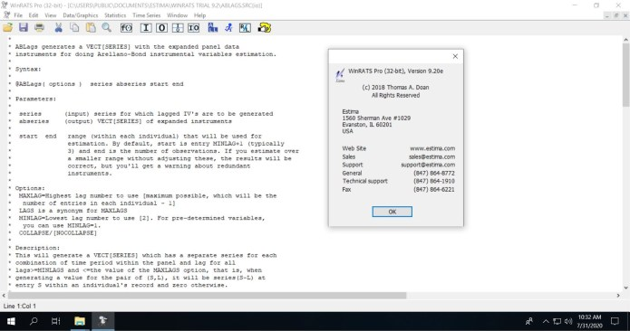 Working with WinRATS Pro 9.20e full