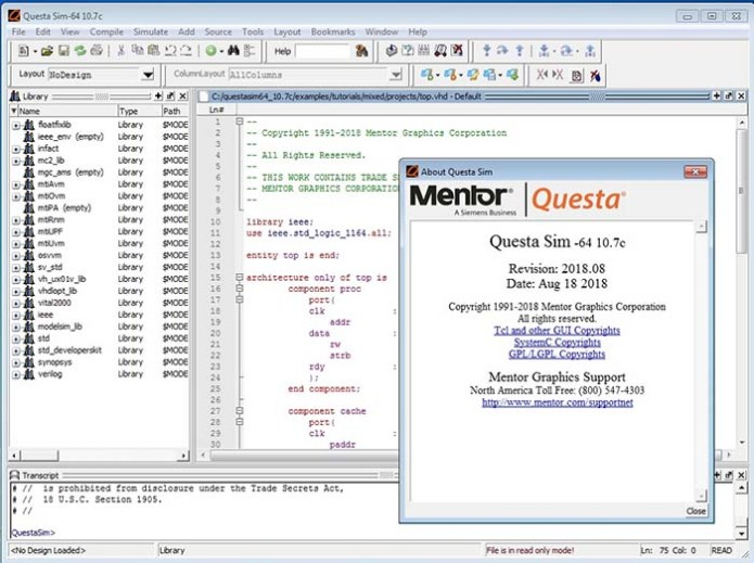 Working with Mentor Graphics QuestaSim 10.7c full