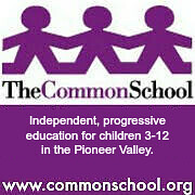 "Graphic with background of paper cut-out people holding hands and the words ""The Common School"" overlay."