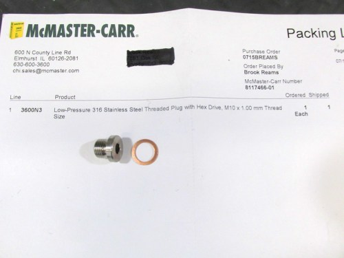 McMaster Carr Stainless Steel Plug With Copper Washer