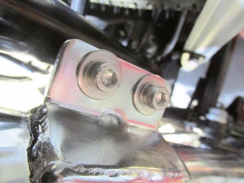 Muffler Bracket Hardware Installed On Bottom Of Frame Bracket