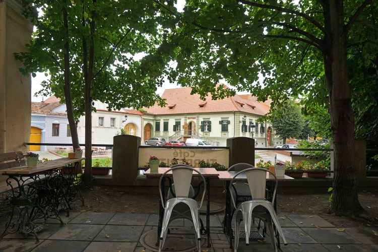 The terrace of Café Turrepitz, located inside the walls of St. Margaret's Church, Mediaș