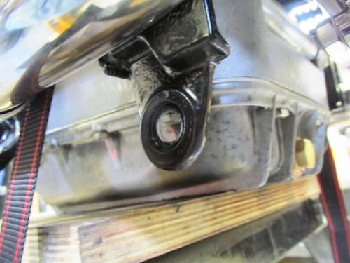 Center Stand Pivot Bolt Bracket On Bottom Of Frame Next To Oil Pan