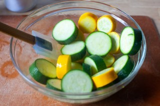 marinating the zucchini