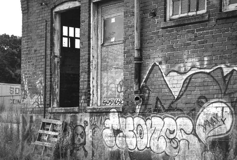 exterior, abandoned mill, brick, graffiti, railroad district, Asheville, NC, Nikon D3300, nikon nikkor 55mm f-3.5, 8.23.20