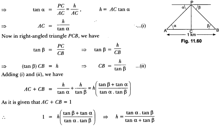 Some Applications of Trigonometry Class 10 Extra Questions Maths Chapter 9 with Solutions Answers 61