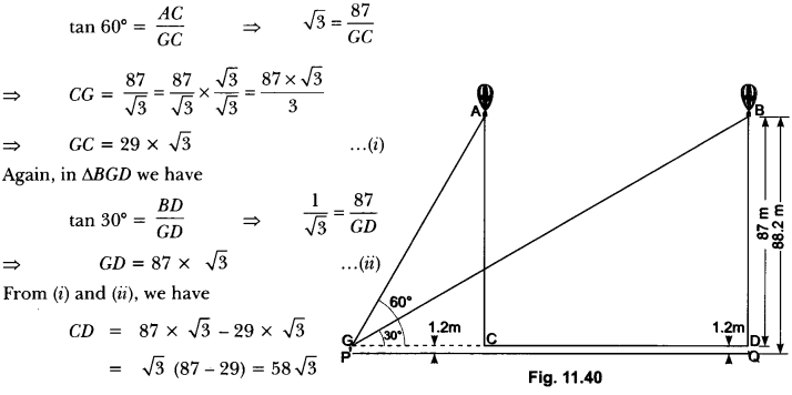 Some Applications of Trigonometry Class 10 Extra Questions Maths Chapter 9 with Solutions Answers 34