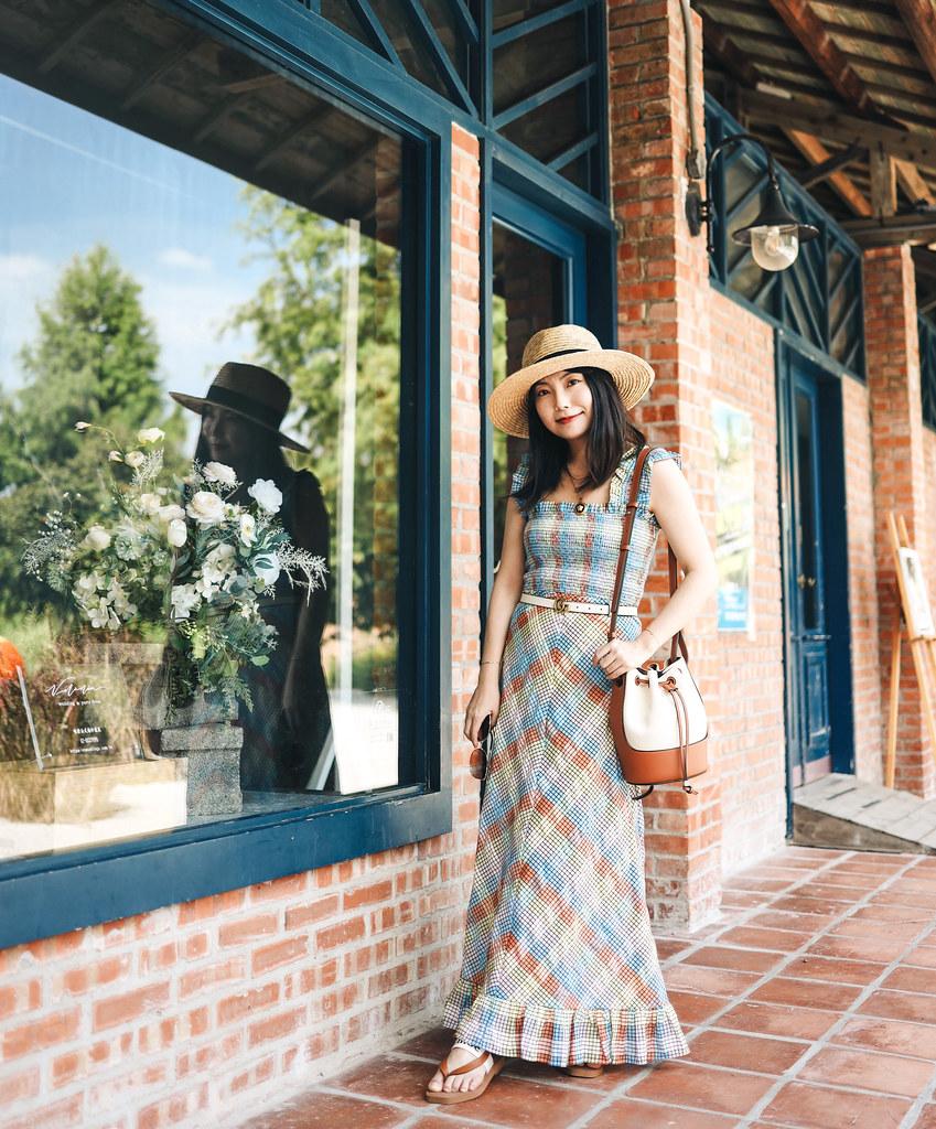 Ganni彩色小格子洋裝 + Loewe氣球包 + Chloe熱門帆布拖鞋