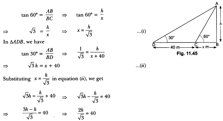 Some Applications of Trigonometry Class 10 Extra Questions Maths Chapter 9 with Solutions Answers 41