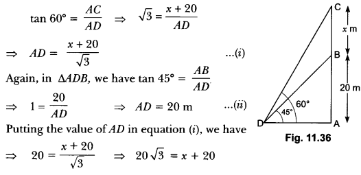 Some Applications of Trigonometry Class 10 Extra Questions Maths Chapter 9 with Solutions Answers 28