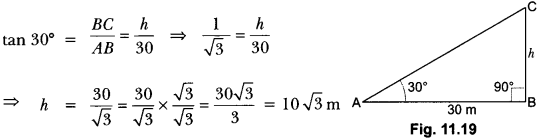Some Applications of Trigonometry Class 10 Extra Questions Maths Chapter 9 with Solutions Answers 7