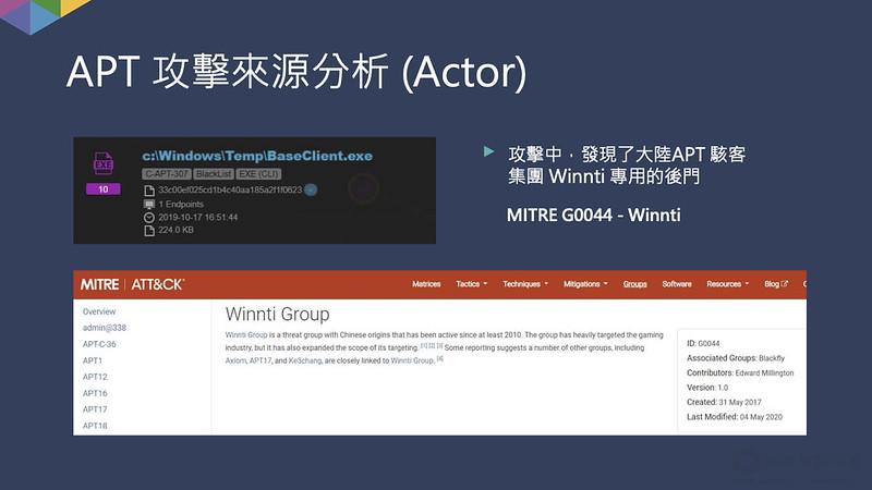 追溯發起先進持續攻擊(APT)源頭為位在大陸的駭客集團Winnti,在MITRE ATT&CK上的駭客團體編號為G0044。