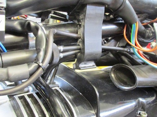 Choke Carburetor Cable Routing Between Air Box Snorkels (Left Side)