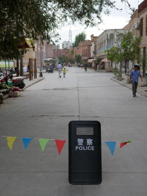 Kashgar Old Town. The police presence is everywhere, but it is nothing compared to some of the southern towns such as Hetian (Khotan).