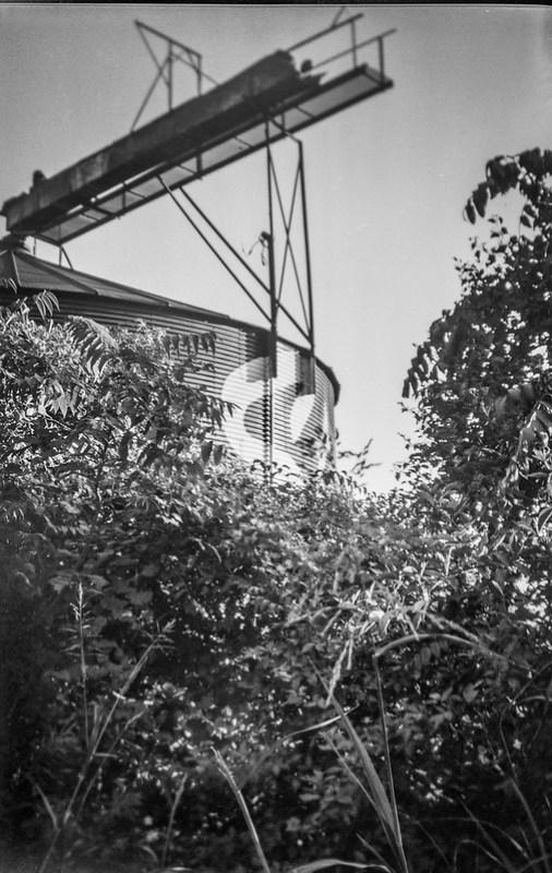 looking up, storage silo, walkway, railroad district, Asheville, NC, Kodak No 2 Cartridge Premo Model B, Fomapan 200, Moersch Eco film developer, 8.28.20