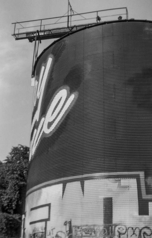 storage silo, walkway, graffiti, railroad district, Asheville, NC, Kodak No 2 Cartridge Premo Model B, Fomapan 200, Moersch Eco film developer, 8.28.20