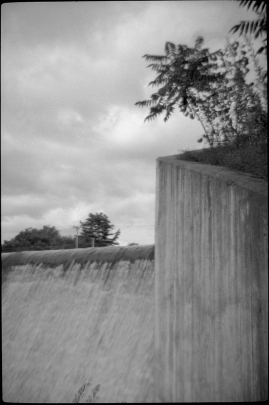 Concrete Wall and Waterfall