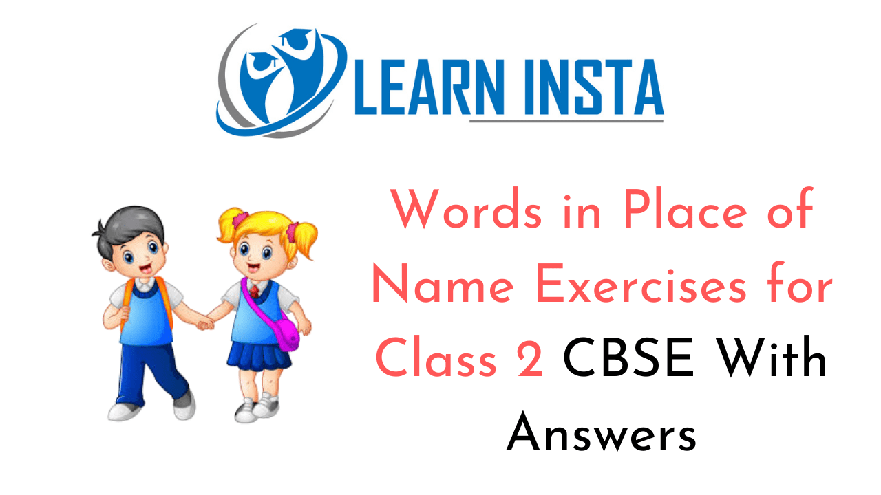 Words in Place of Name Worksheet Exercises for Class 2 Examples with Answers CBSE