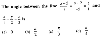 Maths MCQs for Class 12 with Answers Chapter 11 Three Dimensional Geometry Q31