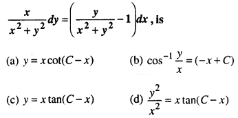 Maths MCQs for Class 12 with Answers Chapter 9 Differential Equations Q23