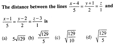 Maths MCQs for Class 12 with Answers Chapter 11 Three Dimensional Geometry Q44