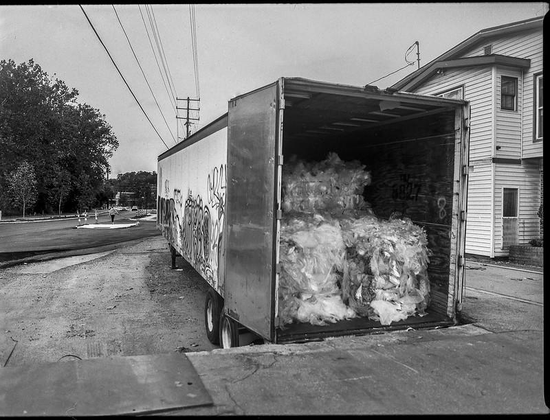 open doors, plastic recycling, tractor trailor, Asheville Waste Paper Company, Asheville, NC, Mamiya 645 Pro, mamiya sekor 45mm f-2.8, Fomapan 200, HC-110 developer, 9.19.20