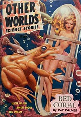 """Other Worlds Science Stories"" Vol. 3, No. 3 (May 1951).  Digest size.  Cover art by Hannes Bok for Ray Palmer's story, ""Red Coral."""