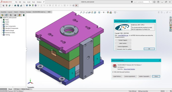 Working with R&B MoldWorks 2019 SP0.2 for SolidWorks 2016-2021 full