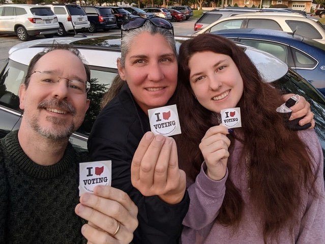 Me and Krissy and Athena, just having voted.