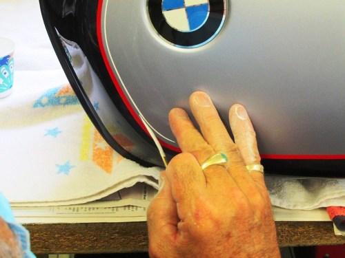 Adding White Stripe To Gas Tank