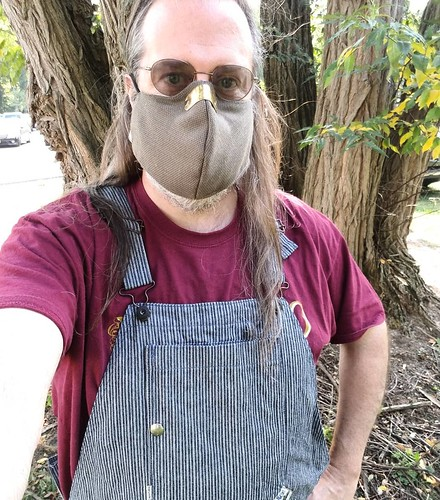 At the Farmers Market! Rocking the @zacebrand overalls AND mask! #ootd #overalls #dungarees #biboveralls #zacedenim #hickorystripe #denimoveralls #overallsarelife