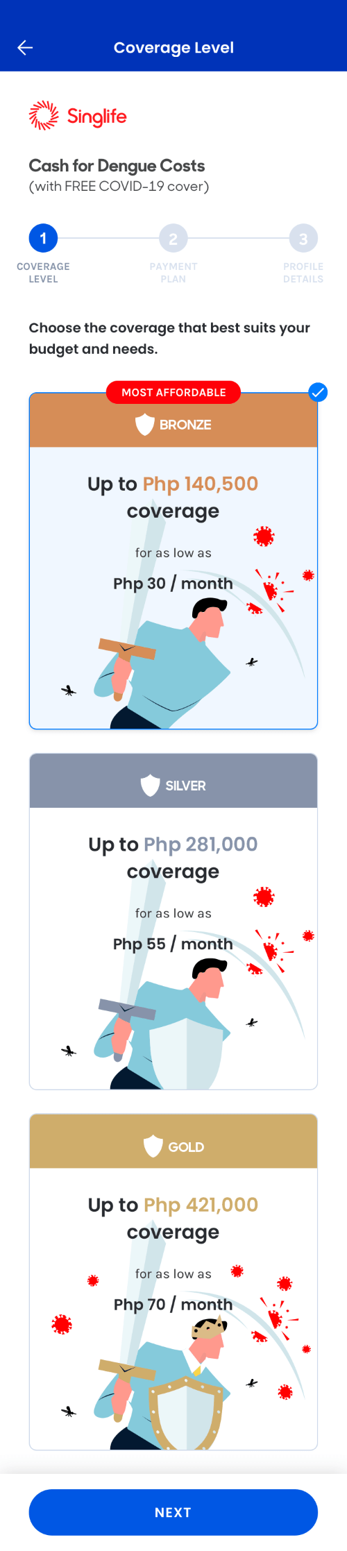Singlife GCash Cash for Dengue Costs  Coverage Level