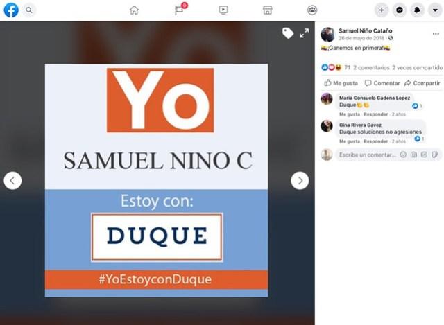 El piloto Samuel Niño Cataño invitó a sus contactos en Facebook a votar por Iván Duque y exhibió este afiche un día antes de la primera vuelta presidencial de 2018.