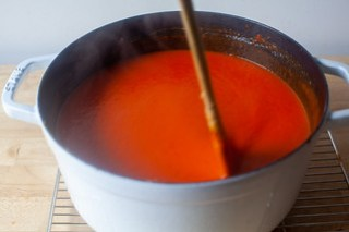 red pepper soup, seasoned