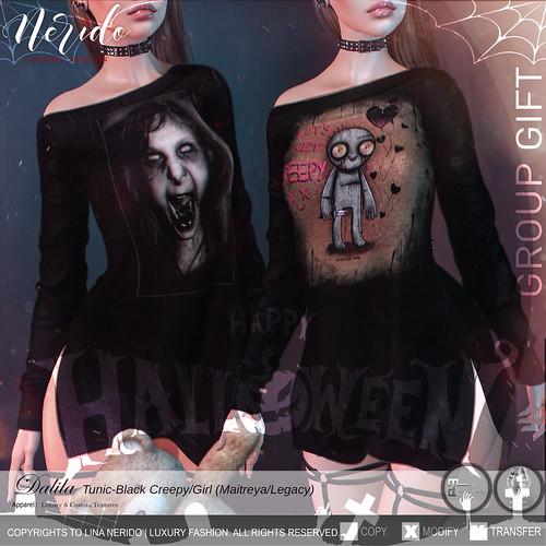 ~Nerido~ Dalila Tunic-Black Creepy/Girl GIFT