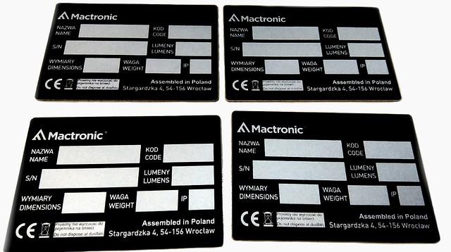 tabliczki znamionowe z aluminium