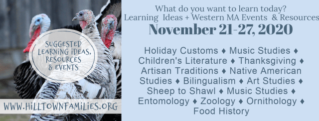 Graphic with background of heritage turkeys with words of learning ideas overlay.