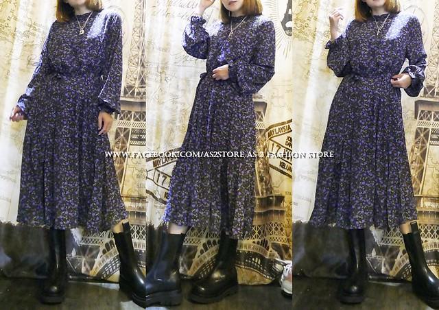 AS2-EB56820120417 英國紫色碎花復古連身裙 (另有深藍碎花) | 定價$568,英國系 | AS 2 JAPANS FASHION STORE | Flickr