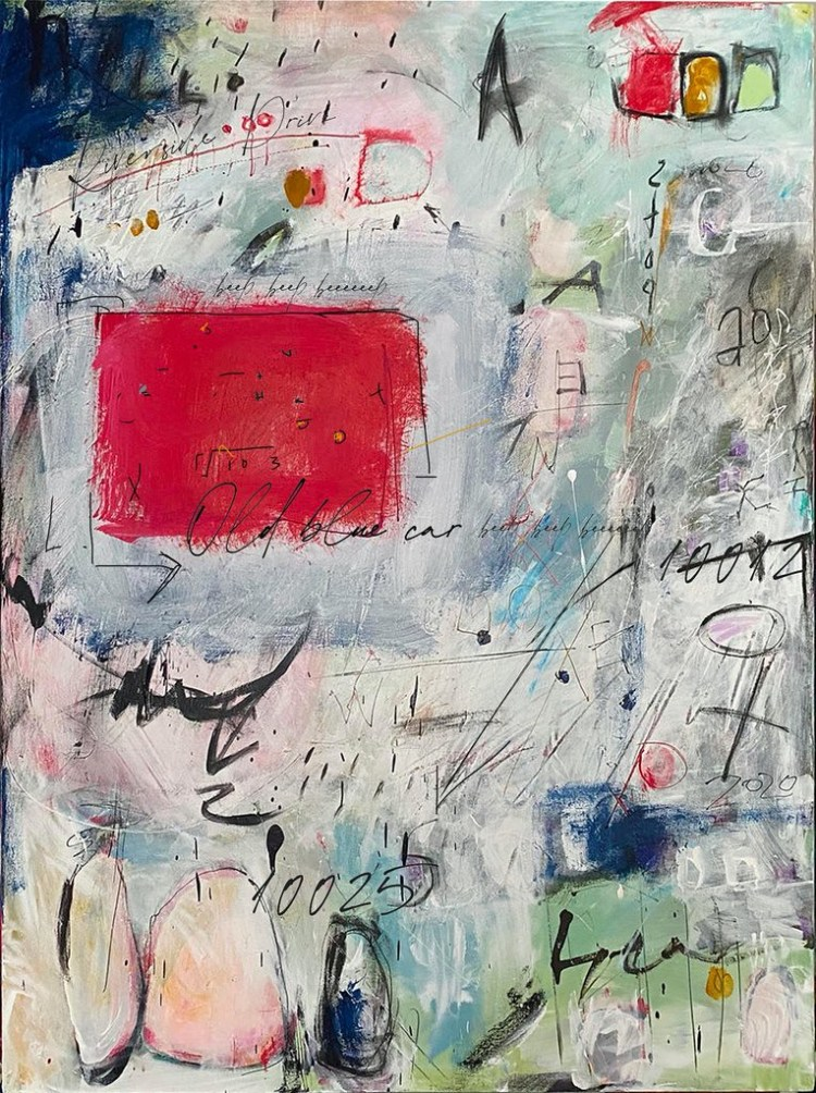 Postcard from Riverside Park 10025 - Original New Contemporary Modern Abstract Art with Mark Making by NYC artist Sarah Fox