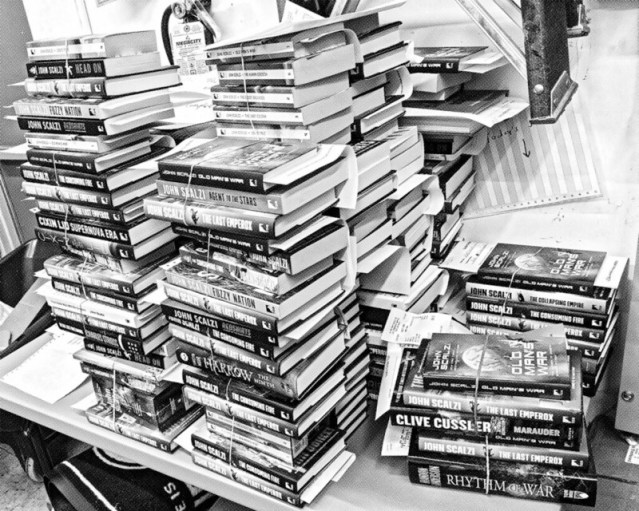 Picture of the books that were subsequently signed.
