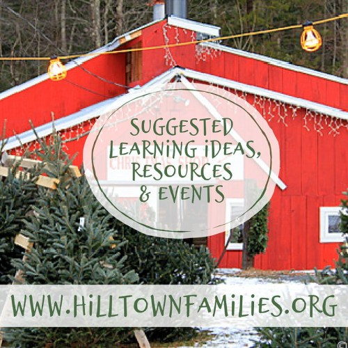 "Image of a red barn with a sign reading ""Christmas Shop"" and Christmas trees outside for sale with the words ""Suggested Learning Ideas"" overlayed."